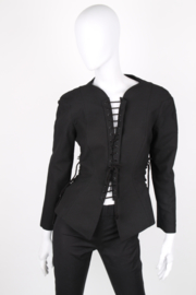 Thierry Mugler Black Cotton Fitted Lace Rope Corset Cage Long Sleeve Jacket