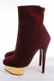 Charlotte Olympia Ankle Boots - burgundy red suede (36)