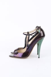 Jimmy Choo Iridescent Purple Green Patent Leather Open Toe Heels
