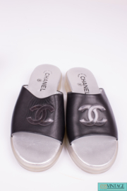 Chanel Slide Sandals - black/silver leather