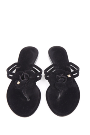 Chanel Black Suede Leather Camellia Flower CC Logo Thong Sandals