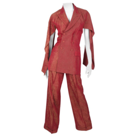 Jean Paul Gaultier backless two-piece suit in red iridescent crinkle rayon