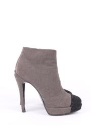 Chanel Grey Iridescent Leather Platform Black Cap Toe Ankle Boots