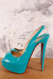 Louboutin Peep-toe - turquoise lakleer