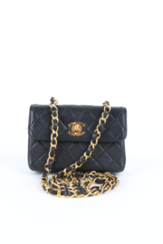 Chanel Black Quilted Leather Timeless Classic CC Logo Gold Coloured Hardware Crossbody Micro XS Bag