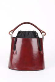Kenzo Burgundy Leather Pagodon 1998 Bucket Bag