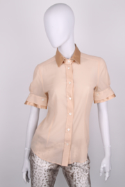 Dolce and Gabbana Beige Silk Short Sleeve Button Up Blouse