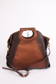 Salvatore Ferragamo Leather Top Handle Bag - brown/metallic brown