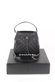 Chanel Black Quilted Caviar Leather Accordion Bag