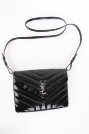 Saint Laurent Lou Lou Black Patent Leather YSL Logo Silver Plated Hardware Shoulder Envelope Crossbody Flap Bag