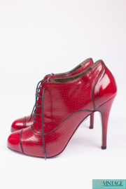 Valentino Perforated High Heel Ankle Boots - red