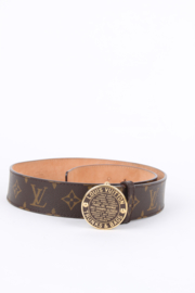 Louis Vuitton Trunks And Bags Brown Leather Monogram LV Logo Gold Plated Hardware Round Enamel Buckle Belt