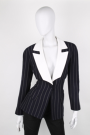 Thierry Mugler Navy Blue Pinstripe White Shawl Collar Synched Wasp Waist Long Sleeve Jacket