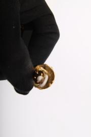 Chanel 80's Pearl Coat Hanger Earrings - black/white/gold