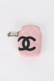 Chanel Cambon Pink Quilted Lambskin Leather CC Logo Monogram Zip Around Coin Purse Belt