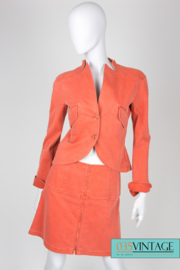 Chanel 3-pcs Denim Suit Jacket, Pants & Skirt - orange
