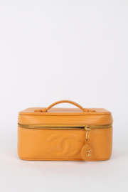 Chanel Orange Caviar Leather CC Logo Top Handle Square Gold Plated Hardware Travel Vanity Case Bag