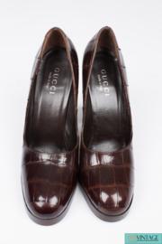 Gucci Alligator Croco Leather Pumps - brown