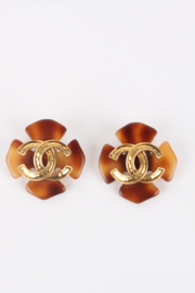 Chanel 1994 Spring/Summer (94P) Large Brown Faux Tortoise Gold Logo Clip-On Earrings