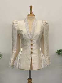 Christian Lacroix Ivory Silk Lace Inlay Jacket