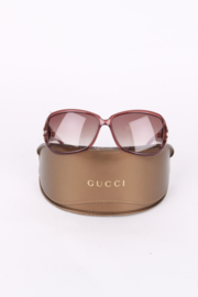 Gucci Brown Resin Gold Metal Retro Oversized Sunglasses