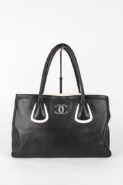 Chanel Executive Black White Monochrome Leather Medium CC Logo Silver Coloured Hardware  Shoulder Tote Hand Bag