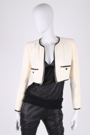 Chanel Wool Bolero Jacket - white/black