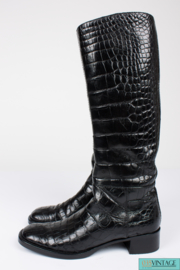 Prada Boots Crocodile Leather - black
