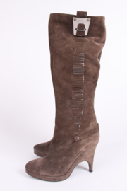 Versace Suede Boots - taupe