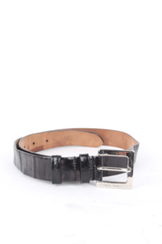 Dolce and Gabbana Black Purple Iridescent Leather Silver Buckle Belt