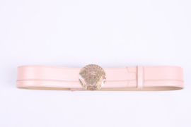 Versace Leather Belt - metallic baby pink