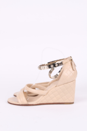 Chanel Quilted Charm Wedges - beige