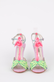 Sophia Webster Pink Multicolor Flamingo Print Patent-Leather Sandals