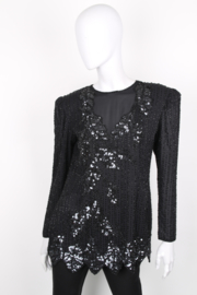 Vintage Black Embellished Sequin Knee-Length Dress