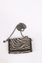 Stella McCartney Falabella Zebra Shoulder Bag - beige/black