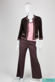 Chanel Cardigan/Top/Pants 3-pcs Suit - brown/pink