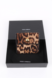 Dolce and Gabbana Brown Leopard Print Leather Flap Card Holder