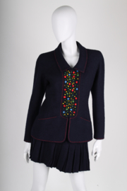 Chanel 2-pcs Vintage Boucle Suit - dark blue