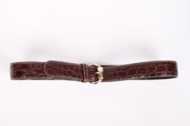 Gucci Vintage Crocodile Leather Belt - dark brown
