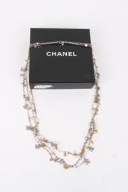 Chanel Fall/Winter 2007 (07A) Silver Gold Multi-Strand Chain Hearts Clover Faux Pearl CC Logo Necklace