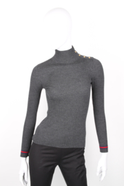 Gucci Grey Asymmetrical Wool Ribbed Collar Longsleeve Turtleneck Top