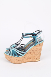 Louis Vuitton Blue Patent Leather Summertime Cork Wedges