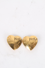 Yves Saint Laurent Gold-Plated Logo Heart Clip-On Earrings