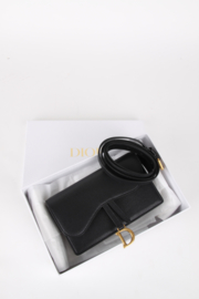 Christian Dior Black Leather Medium CD Logo Gold Coloured Hardware Saddle Pouch Belt Waist Bum Bag