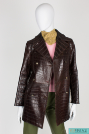 Celine Crocodile Leather Coat - dark brown