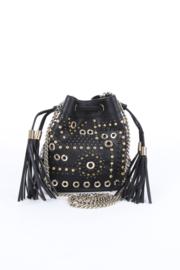 Elisabetta Franchi Black Synthetic Vegan Leather Gold Studded Drawstring Bucket Bag