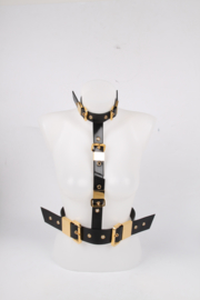Giuseppe Zanotti Leather Body Belt - black/gold