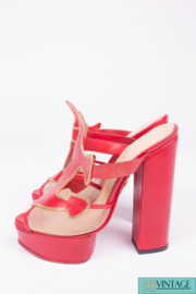 Charlotte Olympia Platform Sandals - red leather/gold