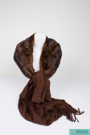 Blumarine Mink Fur and Wool Scarf - dark brown