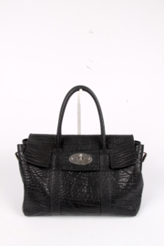 Mulberry Medium Bayswater Buckle Shrunken Calf Leather - black
